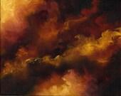 FIRE STORM-Skyscape, Night Sky Original Oil Painting by Marina Petro