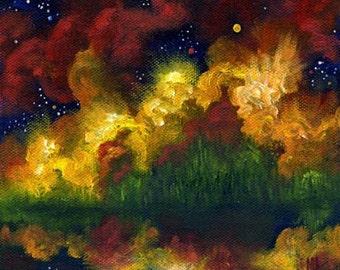 Abstract Art Landscape Art, Original Painting, Moon, Night Painting, Landscape, Night Fire