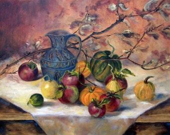 Kitchen Decor, Still Life, Kitchen Art, Food Art, Apple Painting, Still Life painting, fruit still life, wall art,
