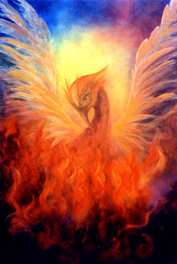 Phoenix Rising Fine Art Print Greeting Card Signed by Marina Petro