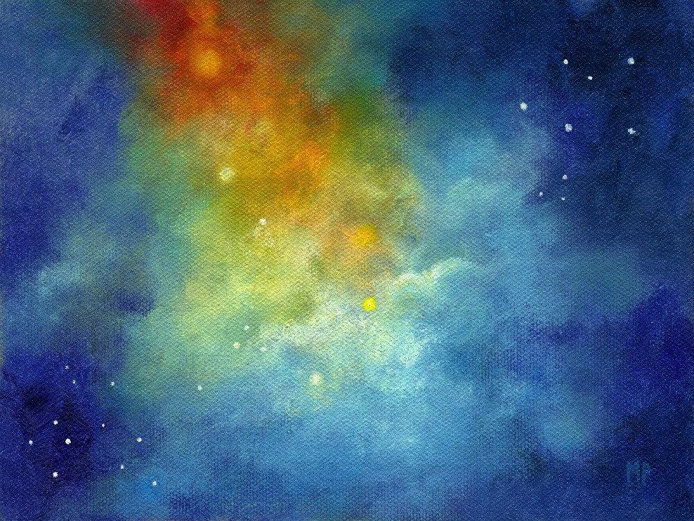 Starlight Night Sky Moon And Stars Skyscape Original Oil