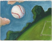 Out of the Park - Archival Print from Original Watercolor 7.5 x 9.75 inches with border