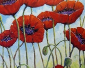 Large abstract oil painting 24X36 Skyward Poppies