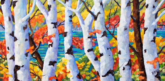 Original large Birches  oil painting The Pool after prankearts