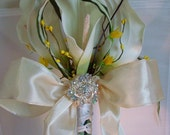 Calla lily  wedding bouquet  flowers white  boutonniere set art deco style brooch.