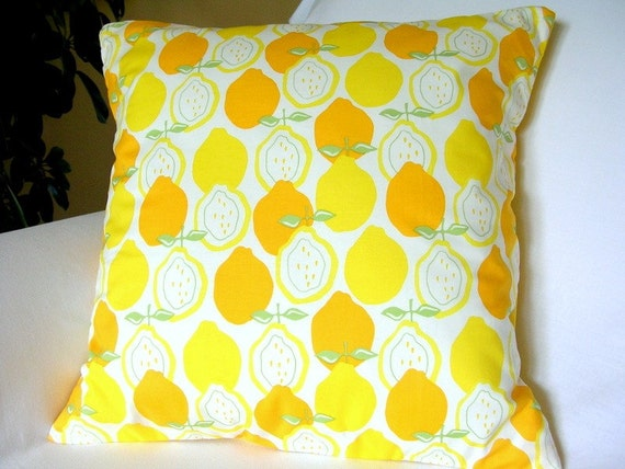 Luscious LEMONS Retro Throw Pillow / Cushion Cover 16 x 16 inch