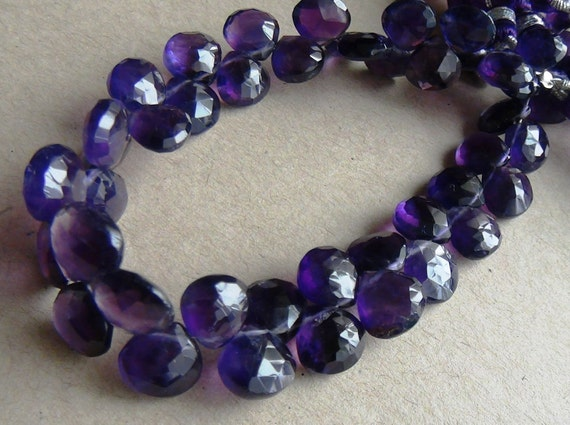 Purple amethyst faceted heart briolette- 8mm- 8 brios
