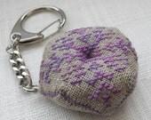 Cross Stitched Keychain Biscornu Brown and Violet