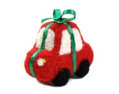Needle Felted Car Gift Red Green - Ornament - Keychain - Hanging Ornament