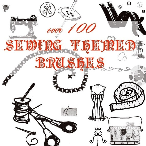 Over 100 Sewing Themed Photoshop Brushes ABR  File