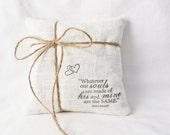 Linen Ring Bearer Pillow, Emily Bronte Quote, Lavender Filled Romantic Heirloom Pillow