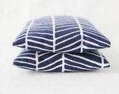 Navy Blue White Herringbone Sachets, Lavender Rose Jasmine Scented Drawer Sachets