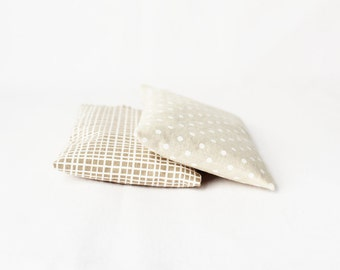 Cream & White Lavender Sachets, Cotton Anniversary Gift for Her, Natural Decor, Geometric Lines, Polka Dots
