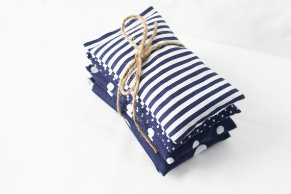 Scented Drawer Sachets, Navy Polka Dots & Nautical Stripes, Set of 4 Drawer Freshener Bags