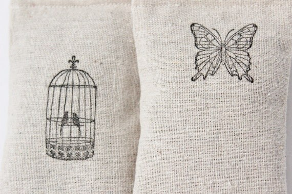 Butterfly and Birds Lavender Sachets, Nature Decor, Car Air Freshener, Hanging Decorations