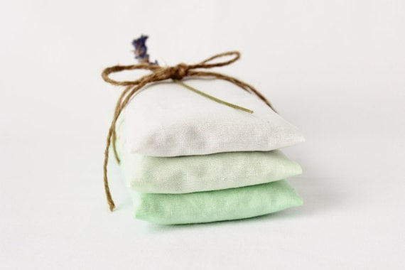 Organic Lavender Bags, Modern Sachets in Ombre Green, Scented Drawer Sachets, Gift for Mom