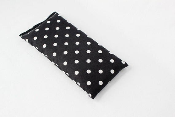 Lavender Flax Eye Pillow, Black and White Polka Dots, Relaxation Gift, Cold Therapy Pack