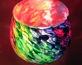 CUTE Hand Painted Candle Holder Rainbow Colored