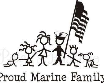 Marines Corps Decal - Marine Family - Marine Stick Family - Memorial Day - 4th of July - Proud Military Family - Military