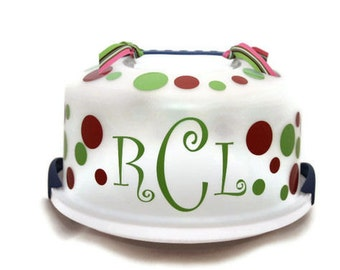 Cake Stand - Cake Carrier - Cake Holder - Monogrammed Cake Carrier - Personalized Cake - Cake Server - Cake Plate