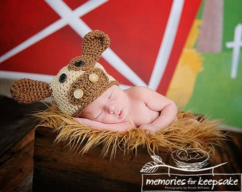 Baby Cow Beanie - Brown Cow Hat - Boy or Girl - Photo Prop