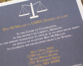 Law School Graduation Invitation, Law School Invitation, Announcement, Graduation Announcement, Lawyer, 5x7 Digital, Printed