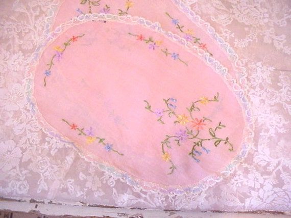 Pink Embroidered Pillow Tops Table Doily or Dresser Scarf 2