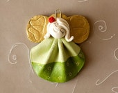Lucky, green little Angel, handmade, acrylic painted