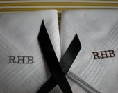 Sale Mens White Hankerchiefs. Personalized.Set of 3. Custom Wedding Groom. Dad. Birthday. Hanukkah. Christmas