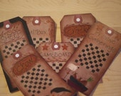 Set of 12~Prim Gameboard~Hang Tags