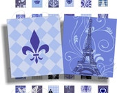 Paris in blue images for scrabble pendant, scrapbook and more Size 0.75x0.83 inch Digital Collage Sheet No.384