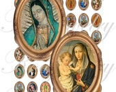 New Virgenes images 18x25mm oval images for charms, pendant, buttons, scrapbook and more Vintage Digital Collage Sheet No.826