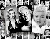 Black and white Marilyn Monroe Domino size 2x1 inchesfor pendant, scrapbook and more digital collage sheet No.937