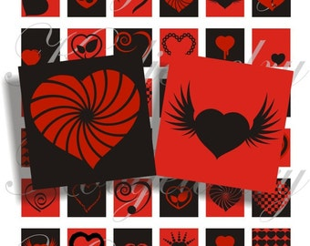 Black and red hearts 1x1 inch images for pendant, scrapbook and more Digial Collage Sheet No.242