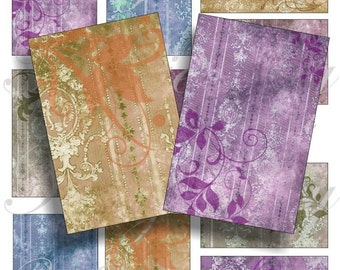 Victorian damask background images for cards, ACEO, ATC, scrapbook and more Digital Collage Sheet 3 X 2 inch No.324