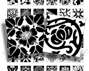 Black and white designs 2 of 1x1 inchfor pendant, scrapbook and more digital collage sheet No.312