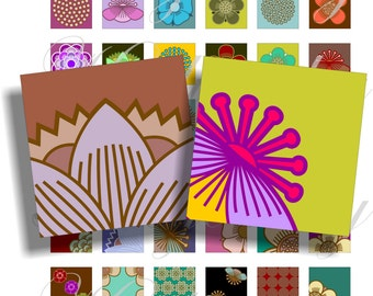 Party flowers 1x1 inch images in red for pendant, scrapbook and more Digital Collage Sheet No.363