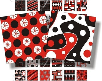 Red, black and white designs 1x1 inch for pendant, scrapbook and more collage sheet No.139