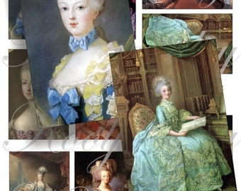 Maria Antoinette images for cards, ACEO, scrapbook and more Digital Collage Sheet 3 X 2 inch No.236