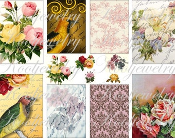 Vintage birds and flowers in images in different sizes for ATC, ACEO and more digital collage sheet No.419