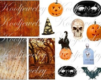 Halloween images in different sizes for ATC, ACEO and more digital collage sheet No.421