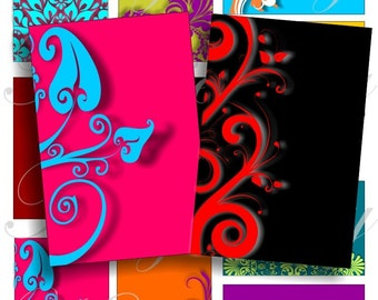 Bright color swirls images for cards, ACEO, ATC, Scrapbook, Invitation, Cards and more Digital Collage Sheet 3 X 2 inch No.469