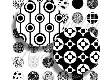 Crazy black  images for bottle caps, pendant, buttons, scrapbook and more Vintage Digital Collage Sheet No.440