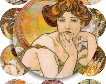 art nouveau images large circles for pocket mirrors and more digital collage sheet No.434