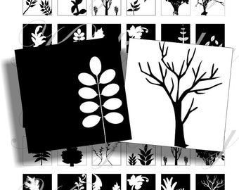 Black and white foliage 1x1 inch for pendant, scrapbook and more collage sheet No.491
