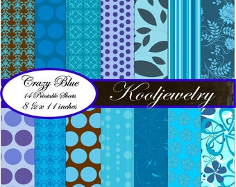 Crazy Blue digital paper pack -  No.50