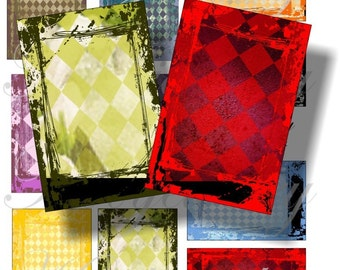 Grunge background images for cards, ACEO, ATC, scrapbook and more Digital Collage Sheet 3 X 2 inch No.393