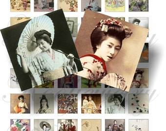 Vintage Geishas 1x1 inch for pendant, scrapbook and more  Digial Collage Sheet No.19