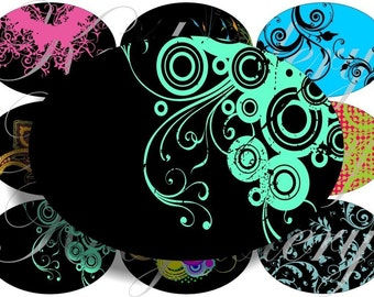 Crazy Swirls images large oval for belt buckle and more digital collage sheet No.503
