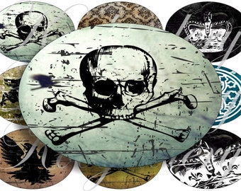 Grunge images large oval for belt buckle and more digital collage sheet No.540